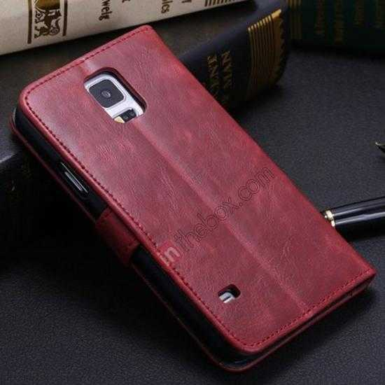 discount Crazy Horse Grain Leather Stand Case for Samsung Galaxy S5 With Card Holder - Wine Red