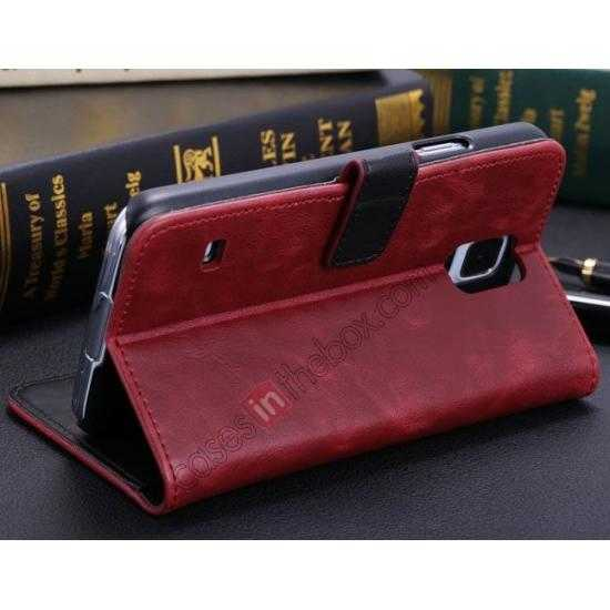 cheap Crazy Horse Grain Leather Stand Case for Samsung Galaxy S5 With Card Holder - Wine Red