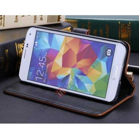 top quality Crazy Horse Grain Leather Stand Case for Samsung Galaxy S5 With Card Holder - Wine Red