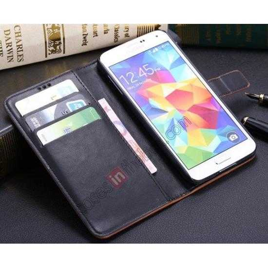 best price Crazy Horse Grain Leather Stand Case for Samsung Galaxy S5 With Card Holder - Wine Red