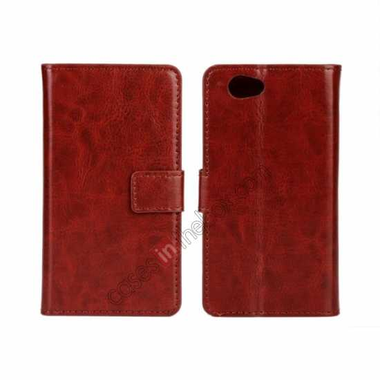 wholesale Crazy Horse Leather Wallet Case For Sony Xperia Z1 Compact(M51W) - Brown