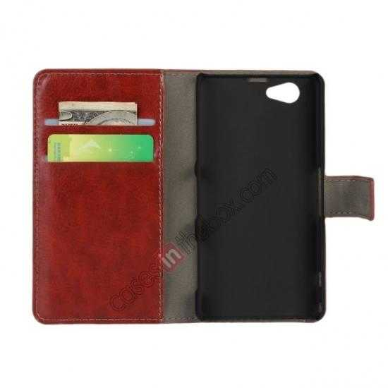 discount Crazy Horse Leather Wallet Case For Sony Xperia Z1 Compact(M51W) - Brown