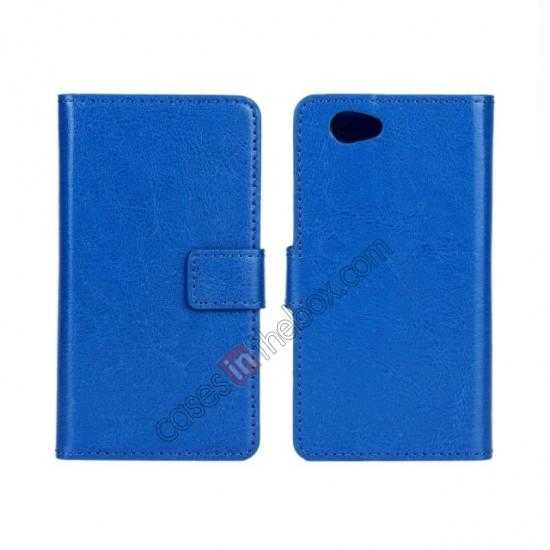 wholesale Crazy Horse Leather Wallet Case For Sony Xperia Z1 Compact(M51W) - Dark blue