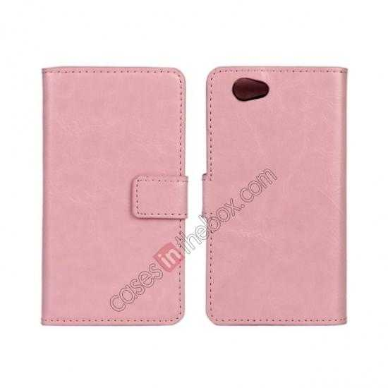 wholesale Crazy Horse Leather Wallet Case For Sony Xperia Z1 Compact(M51W) - Pink