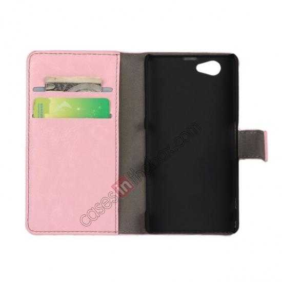 discount Crazy Horse Leather Wallet Case For Sony Xperia Z1 Compact(M51W) - Pink