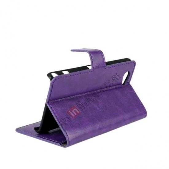 top quality Crazy Horse Leather Wallet Case For Sony Xperia Z1 Compact(M51W) - Purple
