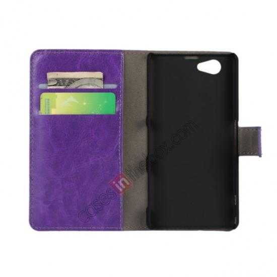 discount Crazy Horse Leather Wallet Case For Sony Xperia Z1 Compact(M51W) - Purple