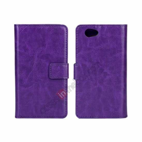 wholesale Crazy Horse Leather Wallet Case For Sony Xperia Z1 Compact(M51W) - Purple