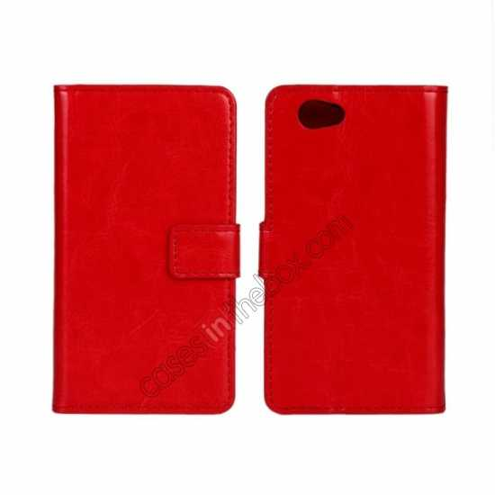 wholesale Crazy Horse Leather Wallet Case For Sony Xperia Z1 Compact(M51W) - Red
