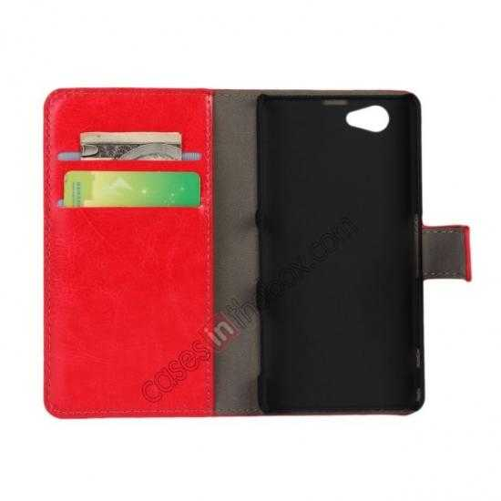 discount Crazy Horse Leather Wallet Case For Sony Xperia Z1 Compact(M51W) - Red