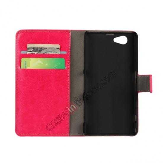 discount Crazy Horse Leather Wallet Case For Sony Xperia Z1 Compact(M51W) - Rose red