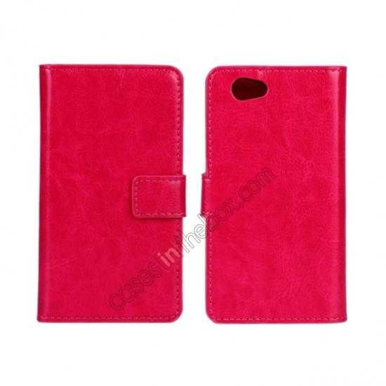 wholesale Crazy Horse Leather Wallet Case For Sony Xperia Z1 Compact(M51W) - Rose red