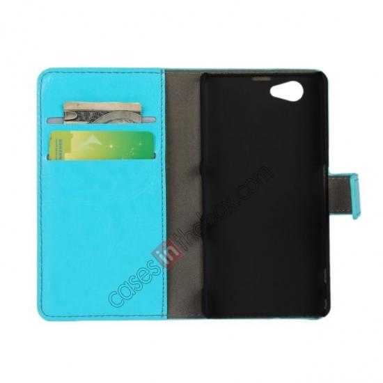 discount Crazy Horse Leather Wallet Case For Sony Xperia Z1 Compact(M51W) - Sky blue