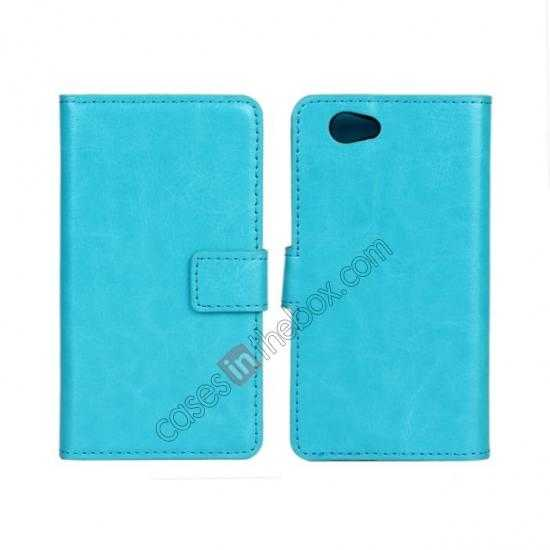 wholesale Crazy Horse Leather Wallet Case For Sony Xperia Z1 Compact(M51W) - Sky blue