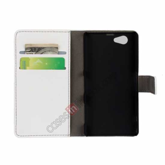 discount Crazy Horse Leather Wallet Case For Sony Xperia Z1 Compact(M51W) - White