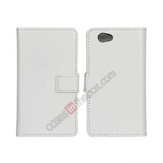 wholesale Crazy Horse Leather Wallet Case For Sony Xperia Z1 Compact(M51W) - White