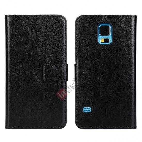 discount Crazy Horse Skin Wallet Flip Leather Case for Samsung Galaxy S5 - Black