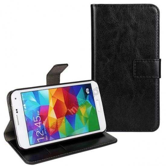 wholesale Crazy Horse Skin Wallet Flip Leather Case for Samsung Galaxy S5 - Black