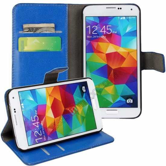 discount Crazy Horse Skin Wallet Flip Leather Case for Samsung Galaxy S5 - Blue