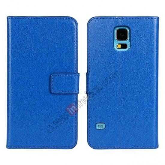 top quality Crazy Horse Skin Wallet Flip Leather Case for Samsung Galaxy S5 - Blue
