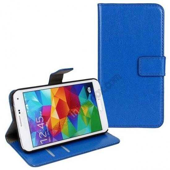 wholesale Crazy Horse Skin Wallet Flip Leather Case for Samsung Galaxy S5 - Blue