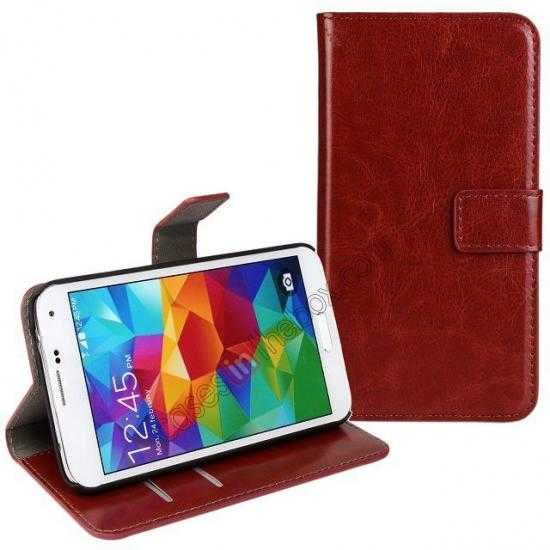 wholesale Crazy Horse Skin Wallet Flip Leather Case for Samsung Galaxy S5 - Brown