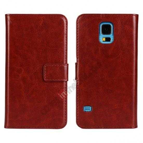 discount Crazy Horse Skin Wallet Flip Leather Case for Samsung Galaxy S5 - Brown