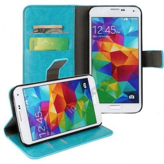 discount Crazy Horse Skin Wallet Flip Leather Case for Samsung Galaxy S5 - Lake Blue