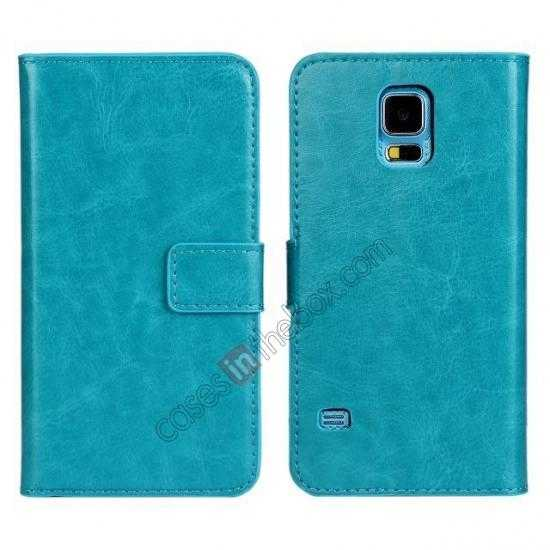 top quality Crazy Horse Skin Wallet Flip Leather Case for Samsung Galaxy S5 - Lake Blue