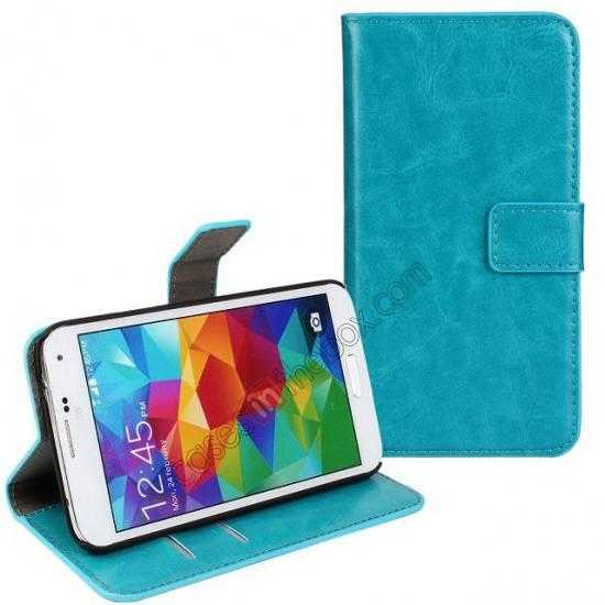 wholesale Crazy Horse Skin Wallet Flip Leather Case for Samsung Galaxy S5 - Lake Blue