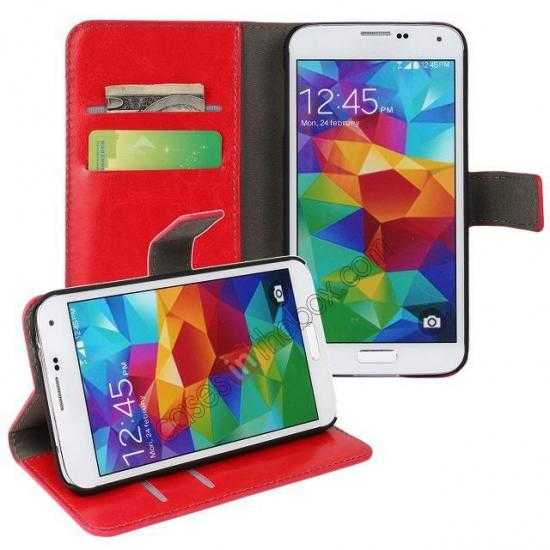 discount Crazy Horse Skin Wallet Flip Leather Case for Samsung Galaxy S5 - Red
