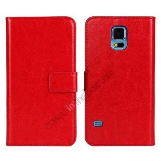top quality Crazy Horse Skin Wallet Flip Leather Case for Samsung Galaxy S5 - Red