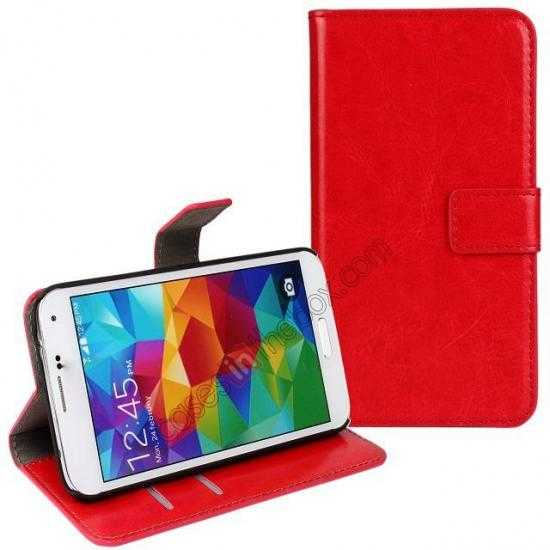 wholesale Crazy Horse Skin Wallet Flip Leather Case for Samsung Galaxy S5 - Red