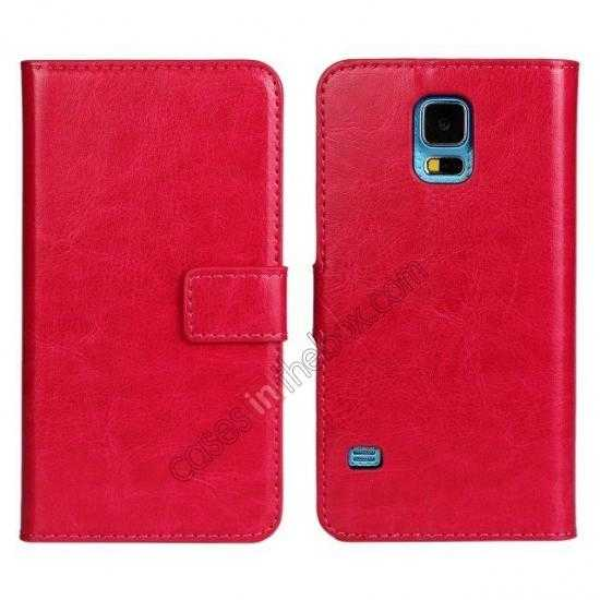 discount Crazy Horse Skin Wallet Flip Leather Case for Samsung Galaxy S5 - Rose