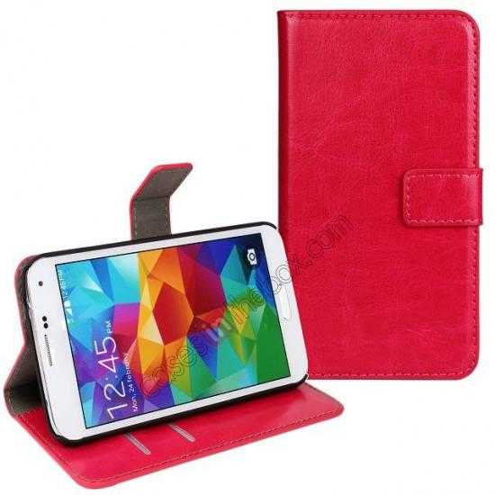 wholesale Crazy Horse Skin Wallet Flip Leather Case for Samsung Galaxy S5 - Rose