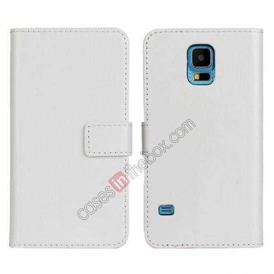 discount Crazy Horse Skin Wallet Flip Leather Case for Samsung Galaxy S5 - White