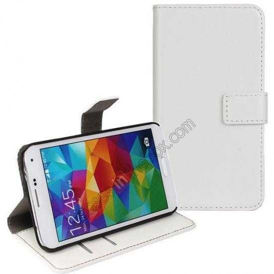 wholesale Crazy Horse Skin Wallet Flip Leather Case for Samsung Galaxy S5 - White