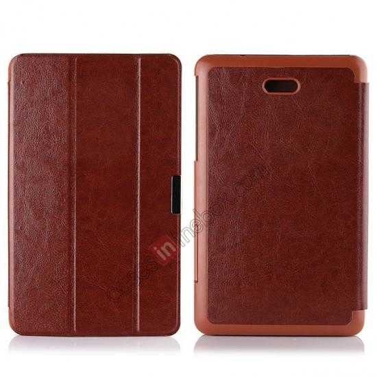 wholesale Crazy Horse Texture Leather Stand Case Cover For Dell Venue 8 Pro Windows 8.1 - Brown
