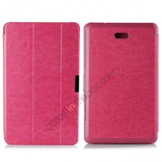 wholesale Crazy Horse Texture Leather Stand Case Cover For Dell Venue 8 Pro Windows 8.1 - Hot pink