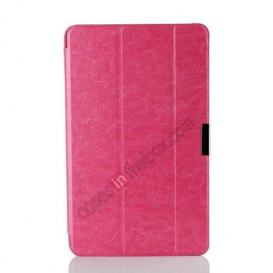 cheap Crazy Horse Texture Leather Stand Case Cover For Dell Venue 8 Pro Windows 8.1 - Hot pink