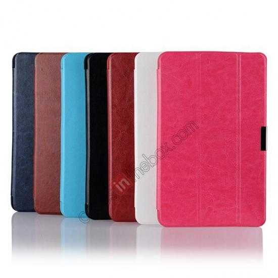 best price Crazy Horse Texture Leather Stand Case Cover For Dell Venue 8 Pro Windows 8.1 - Hot pink