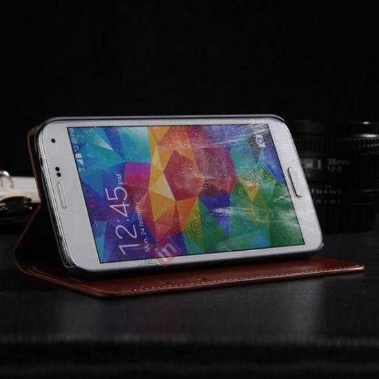 top quality Crazy Horse Texture Wallet Leather Stand Case Cover for Samsung Galaxy S5 - Brown