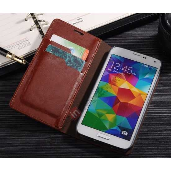best price Crazy Horse Texture Wallet Leather Stand Case Cover for Samsung Galaxy S5 - Brown