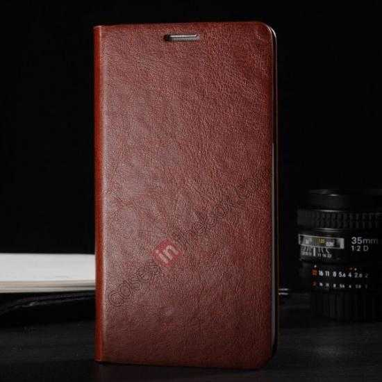 wholesale Crazy Horse Texture Wallet Leather Stand Case Cover for Samsung Galaxy S5 - Brown