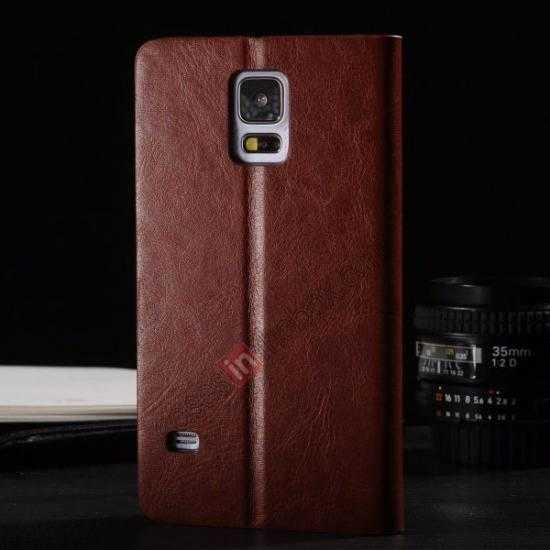 discount Crazy Horse Texture Wallet Leather Stand Case Cover for Samsung Galaxy S5 - Brown