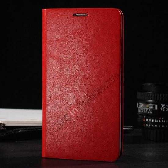 wholesale Crazy Horse Texture Wallet Leather Stand Case Cover for Samsung Galaxy S5 - Red