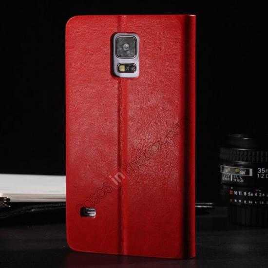 discount Crazy Horse Texture Wallet Leather Stand Case Cover for Samsung Galaxy S5 - Red