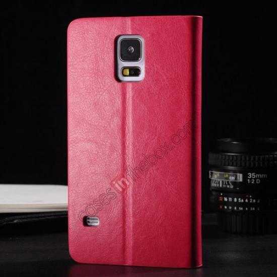 discount Crazy Horse Texture Wallet Leather Stand Case Cover for Samsung Galaxy S5 - Rose red