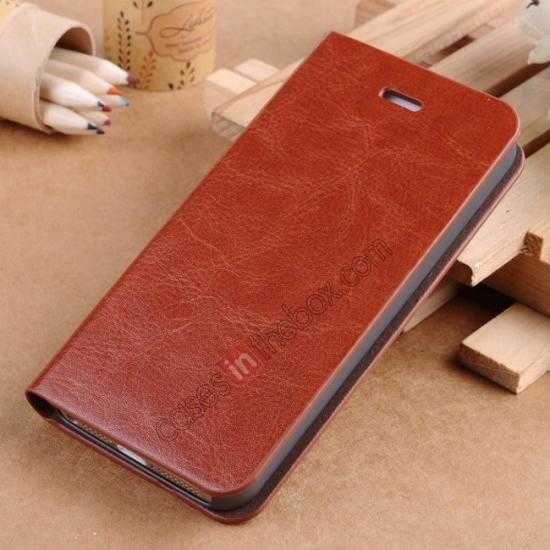 wholesale Crazy Horse Texture Wallet Leather Stand Case For iPhone SE/5S/5 - Brown