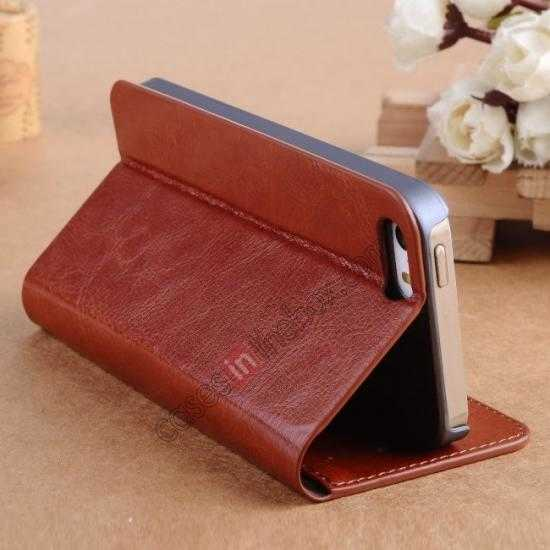 cheap Crazy Horse Texture Wallet Leather Stand Case For iPhone SE/5S/5 - Brown